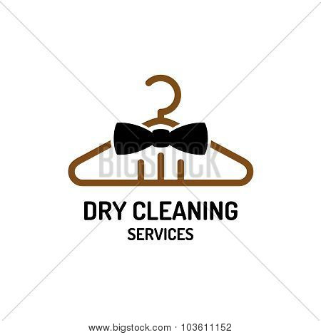 Dry Cleaning Service Logo Template. Hanger With Bow Tie Concept.