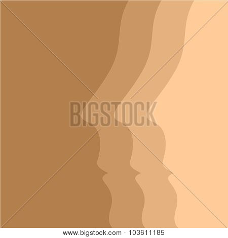 Beige Vector Background With Human Face Profiles