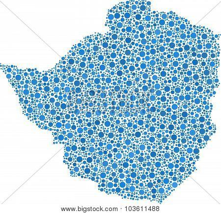 Isolated map of Zimbabwe