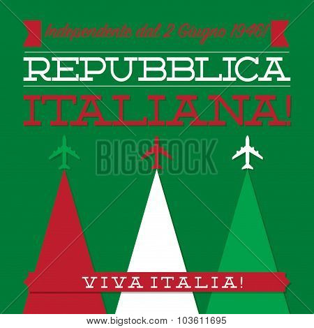 Italian Republic Day Card In Vector Format.