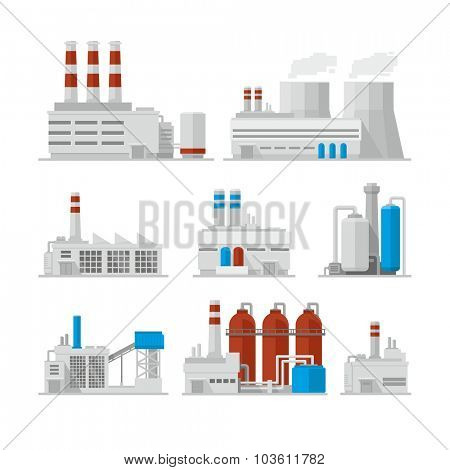 Factory Industrial Buildings Power plants vector icons
