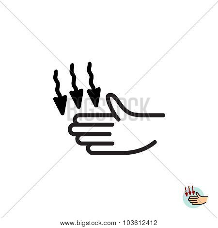 Hand Dryer Vector Icon. Warm Air Blower Sign.