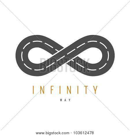 Infinity Road Logo. Loop Way Symbol.