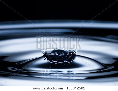 Water Drop And Splash Close Up, Dark Blue Color