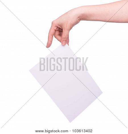 Hand and paper isolated on white that can be replace with everything you want, namecard sign etc... shoot on isolated white background