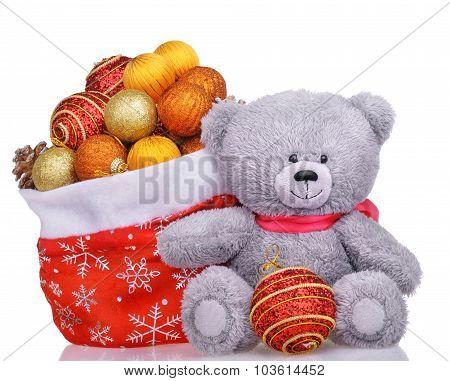 Teddy Bear With Santa Bag Full Of Toys