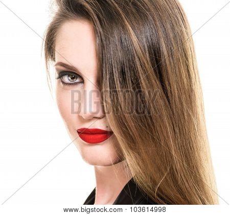 Sexy Beauty Woman with Red Lips. Provocative Make up. Fashion shot isolated on a white background. L