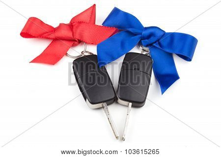 Car Keys With Red And Blue Bows