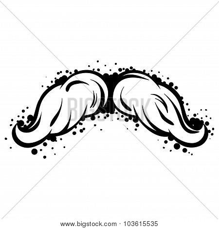 Hipster black mustache in line art style