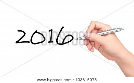Concept or conceptual Happy New Year 2016. New Year 2016 word, hand writing with a pen on a transparent board