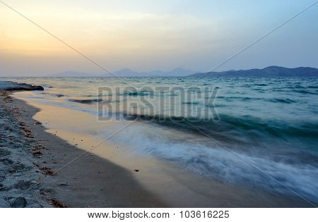 Sandy beach in the evening
