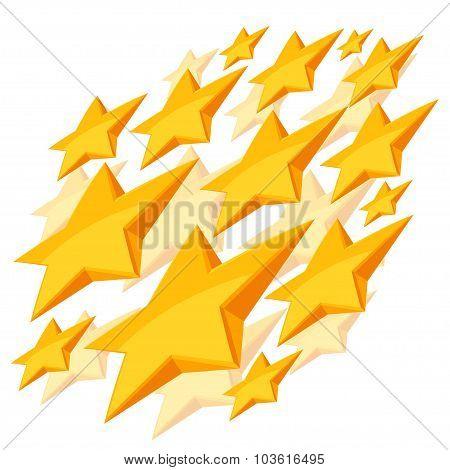 Shiny golden stars falling on white background