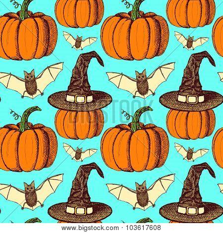 Sketch Halloween Seamless Pattern