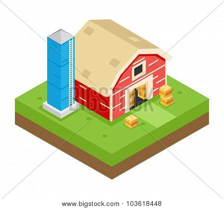 Isometric Barn Stack Storage Silo 3d Icon Symbol Meadow Background Flat Design Vector Illustration