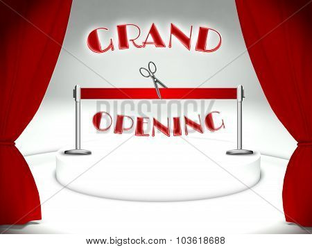 Grand Opening Red Ribbon And Scissors