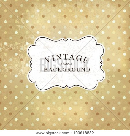 Aged vintage polka dot old paper background. Vector illustration