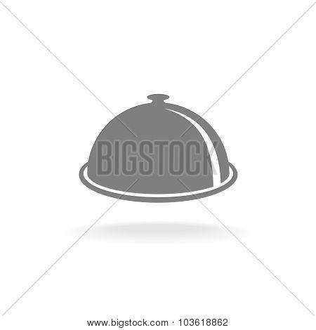 Food Tray Cover Symbol. One Color, Perspective View. Menu Title Sign.