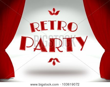 Retro Party On Theater Stage With Red Curtains