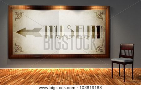 Museum Vintage Direction Sign In Old Fashioned Frame