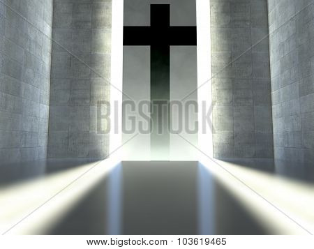 Christian Cross On Wall, Concept Of Faith