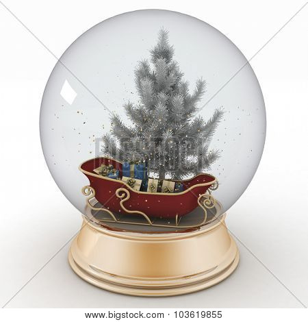 Santa's sleigh with Christmas gifts inside a snow ball