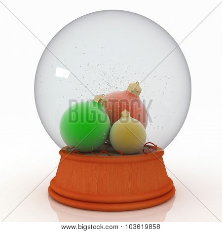 Snow ball with Christmas balls on white background