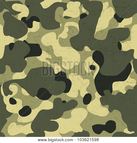 Military camouflage seamless pattern. Vector background with scratched aged texture