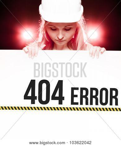 404 Error Sign Held By Worker