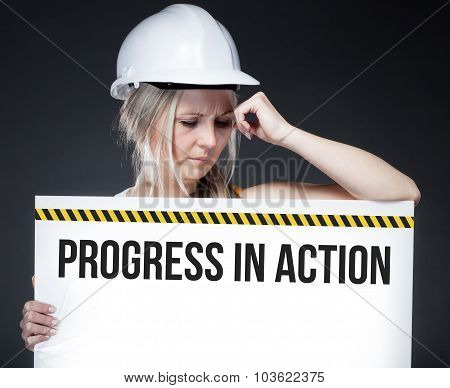 Progress In Action Sign On Information Board, Thinking Worker