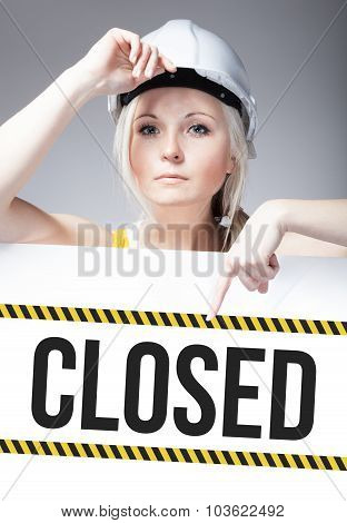 Closed Sign On Template Board, Worker Woman