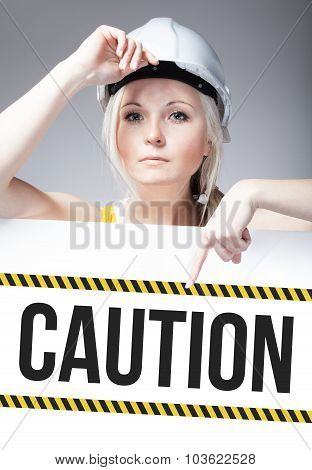 Caution Sign On Template Board, Worker Woman