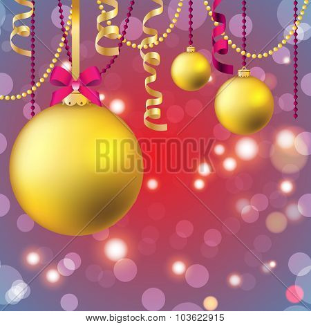 New Year Greeting Card. Christmas Ball With Bow And Ribbon.