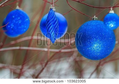Outdoor Christmas Decorations With Ultramarine Shiny Bauble Ornaments Hanging On Tree Red Branches