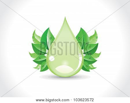Abstract Green Drop With Leaf