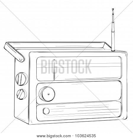 Vector Illustration Of Retro Portable Radio With Antenna Made In Thumbnail Style