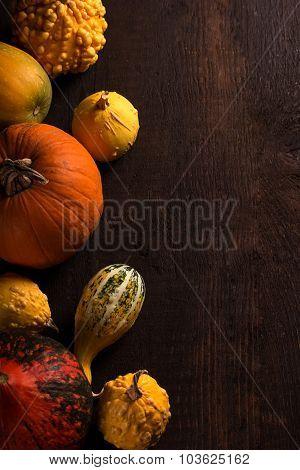 Various Pumpkin Over Wooden Background