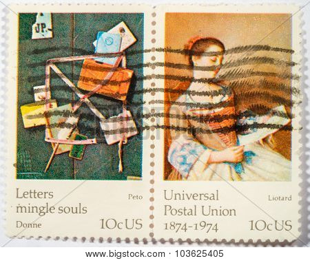 Us - Circa 1974: A Double Stamps Printed In Us Shows The Lovely Reader By Liotard And Old Scraps By
