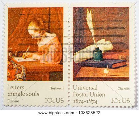 Us - Circa 1974: A Double Stamps Printed In Us Shows Francisco De Goya, Don Antonia Noriega, Ceries