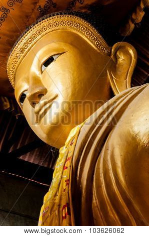 Gold Buddha Head from below