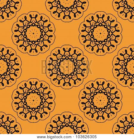 Symmetric seamless wallpaper pattern based on oriental henna painting.