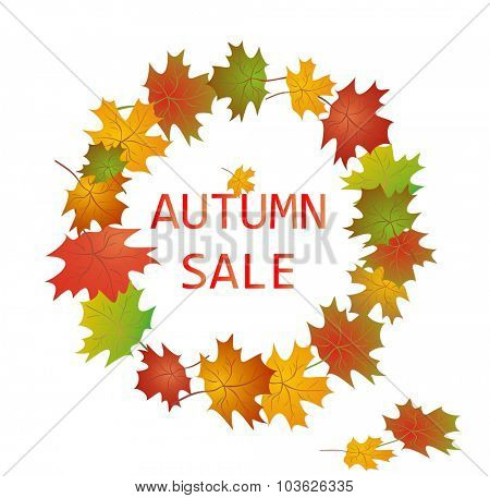 Label for autumnal sale with maple leaves