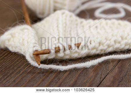 Sample Of Knitting From Woolen Yarn White Color