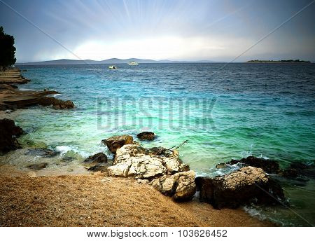Beach And Clear Sea With Cloudy Sky, Croatia Dalmatia