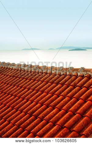 Red Ceramic Tiles Roof And View Of The Sea, Croatia Dalmatia