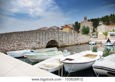 Old Stone Bridge And Moored Boats, Croatia Dalmatia