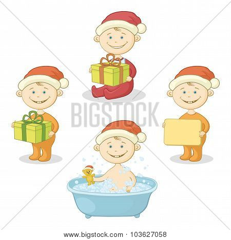 Cartoon children in Santa hat