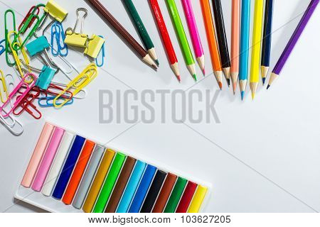 Frame Of Colorful School Supplies And Equipment Education Art On Background With Space For Text.