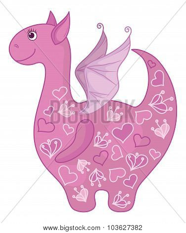 Dragon with valentine hearts