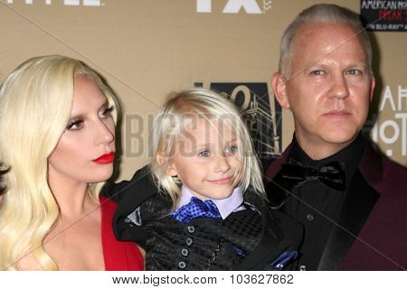 LOS ANGELES - OCT 3:  Lady Gaga, Lennon Henry, Ryan Murphy at the