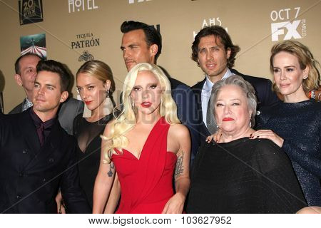 LOS ANGELES - OCT 3:  Matt Bomer, Chole Sevigny, Cheyenne Jackson, Lady Gaga, Brad Falchuk, Kathy Bates, S Paulson at the